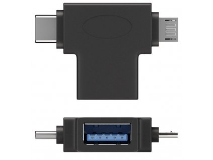 PremiumCord Adaptér USB-A na USB-C + micro USB-B