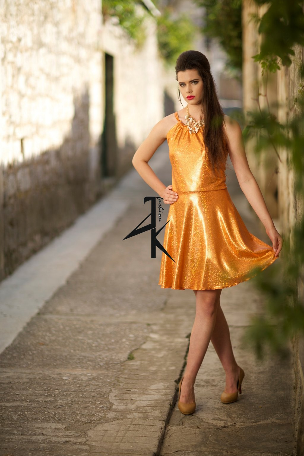 damske saty kratke oranzove trpyt 38 11105503