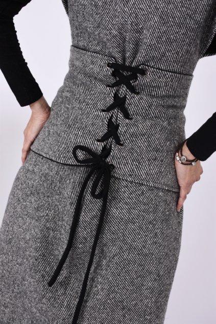 damska vesta black white detail