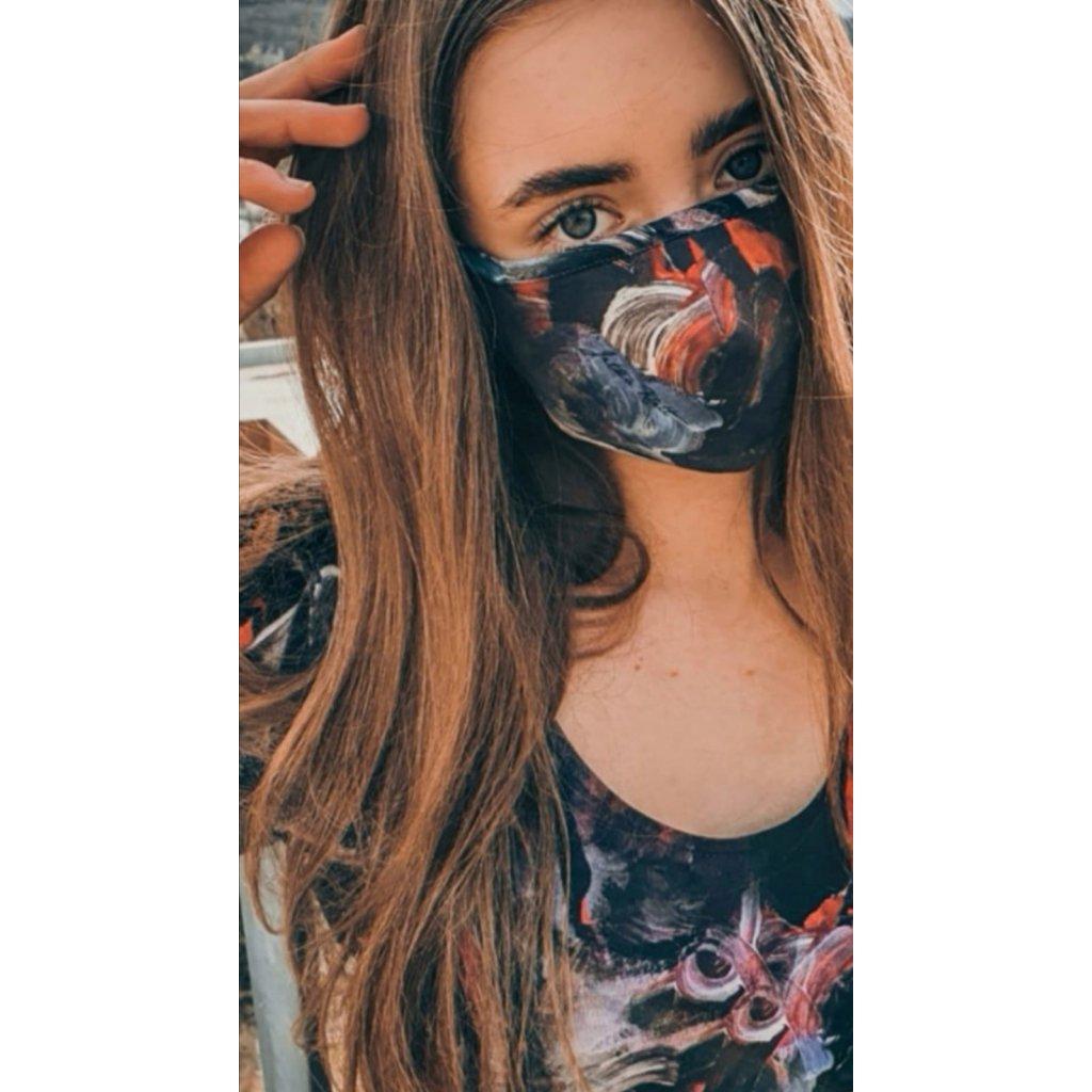 Designérská, bavlněná maska Espirity - červená