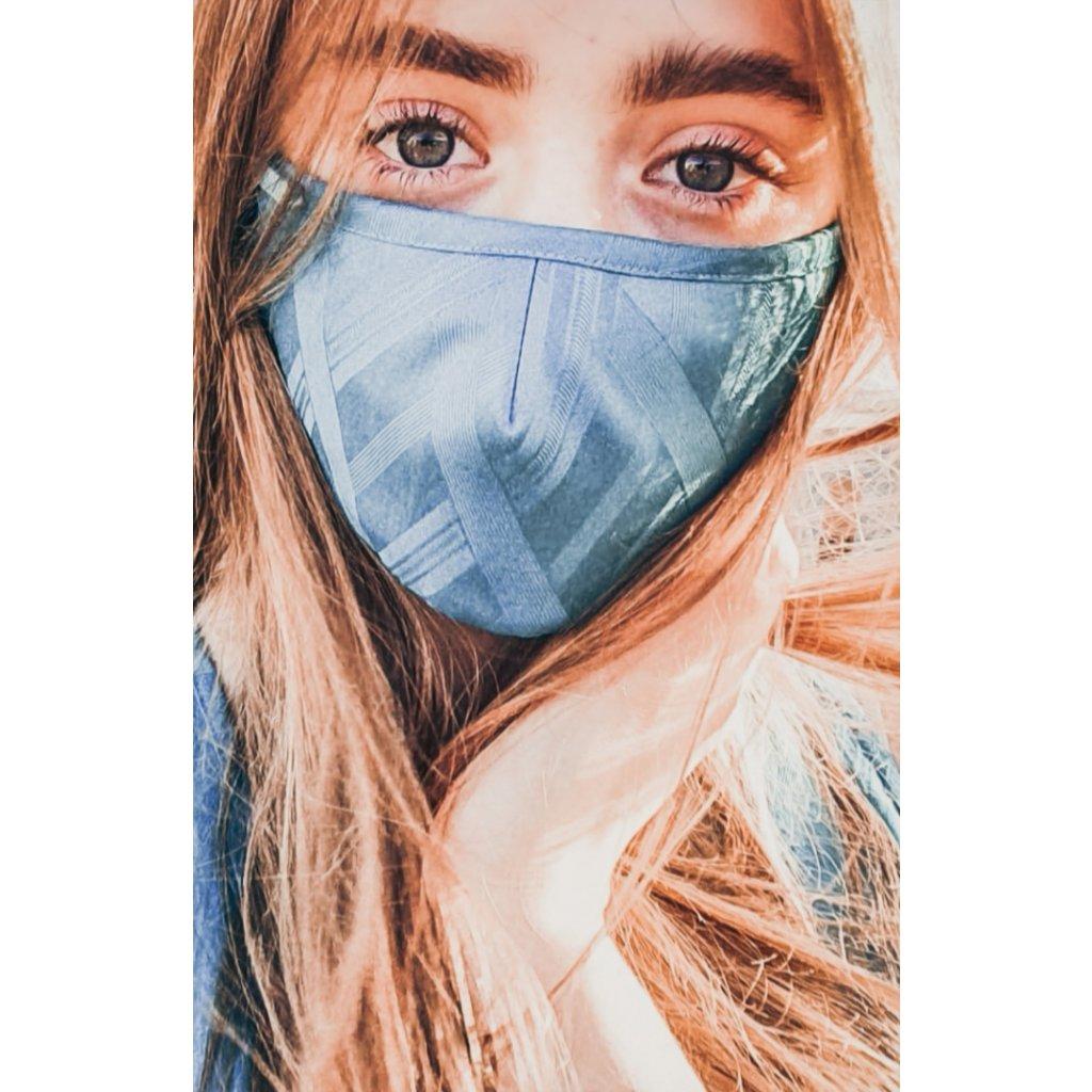 Designérská, bavlněná maska - tyrkysová
