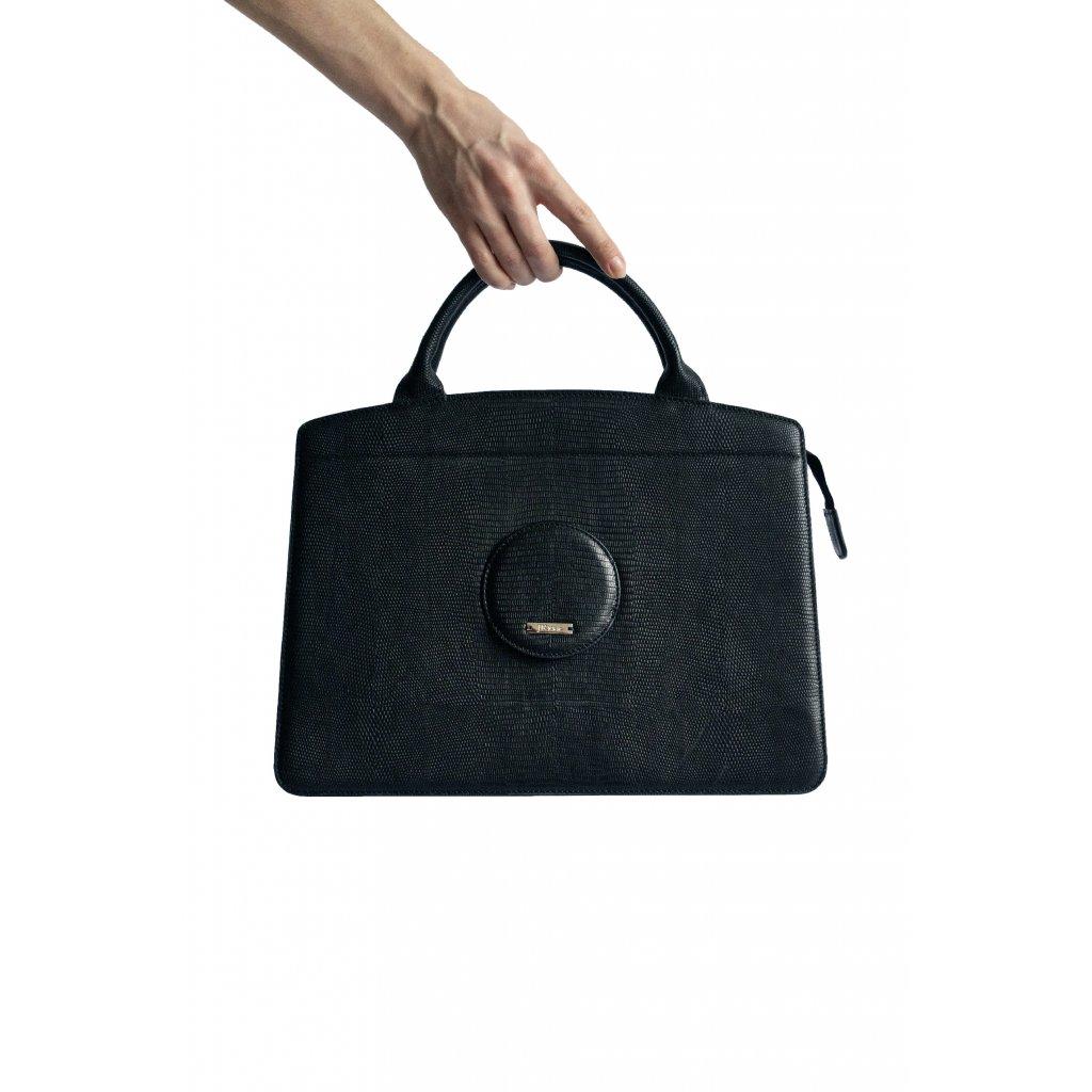 Černá dámská kožená kabelka