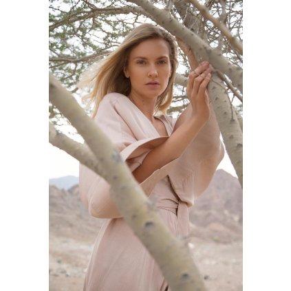 Maxi šaty volného střihu s páskem TERRA béžové