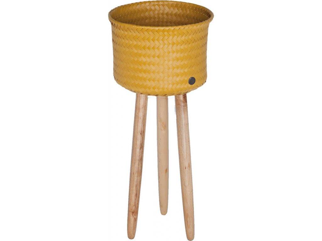 Obal na květiny na dřevěných nohách UP HIGH žlutá Handed By