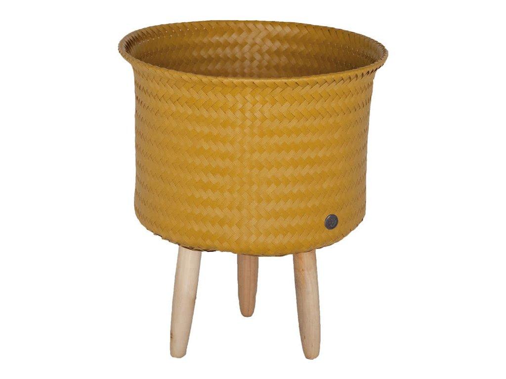 Obal na květiny na dřevěných nohách UP MID žlutá Handed By