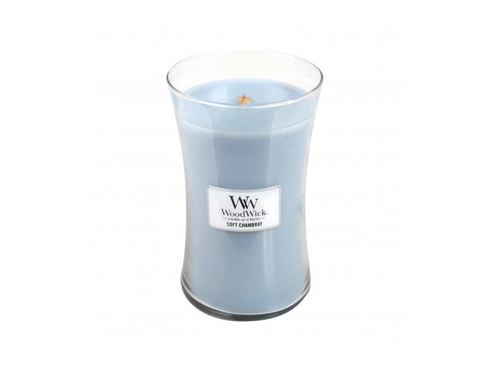 WoodWick vonná svíčka sklo velké SOFT CHAMBRAY
