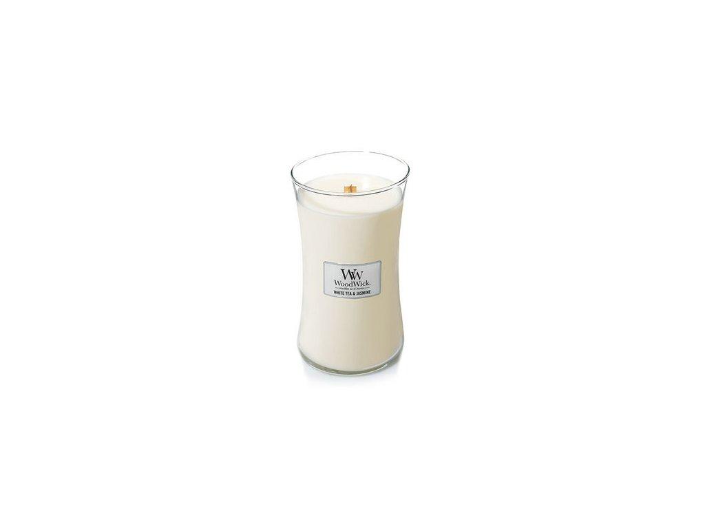 WoodWick vonná svíčka sklo velké WHITE TEA & JASMINE