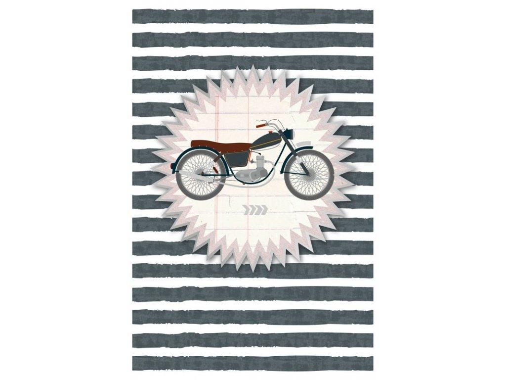 Přání s obálkou ražené motorka ARTEBENE