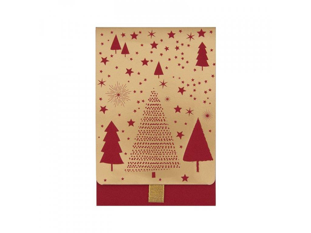Dárková obálka přání vánoční stromky, hvězdy 11,5 x 17 cm Artebene