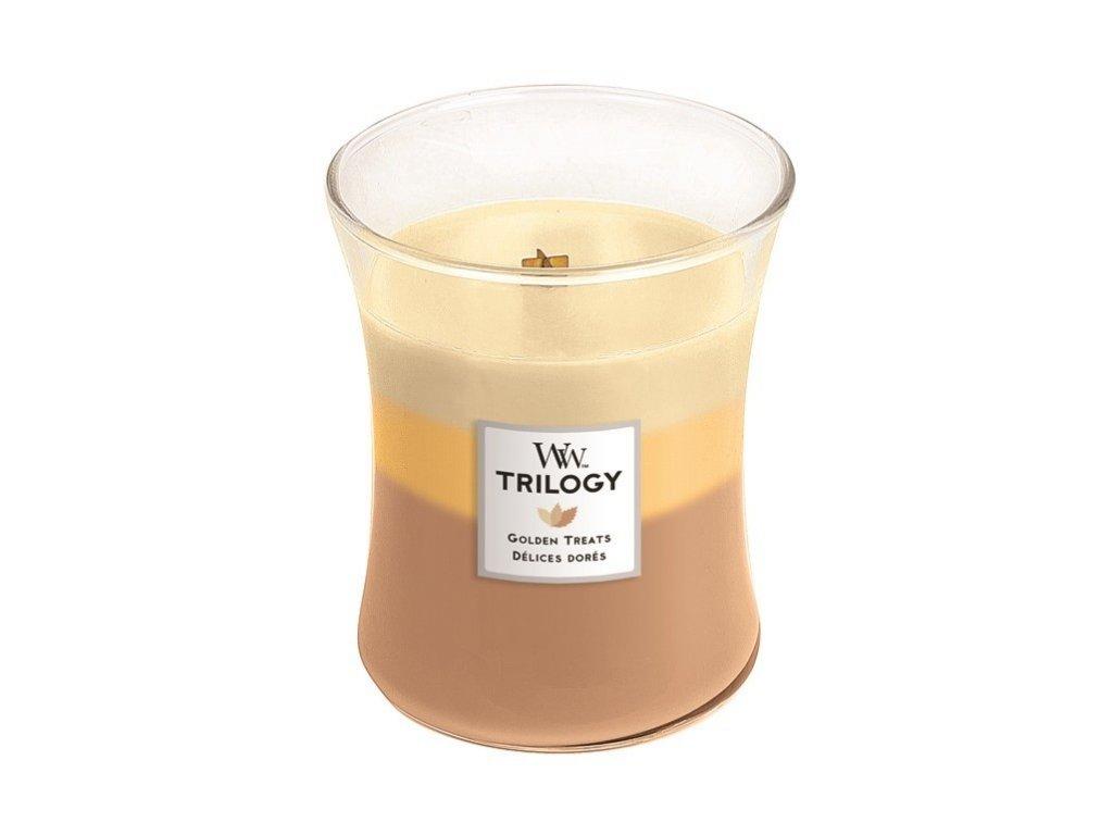 WoodWick vonná svíčka sklo střední TRILOGY GOLDEN TREATS 275 g