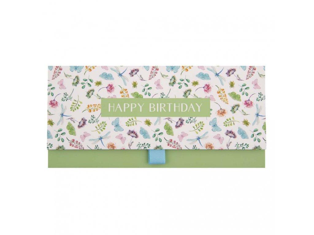 Dárková obálka přání 23 x 11 cm Happy Birthday Blumen, Artebene