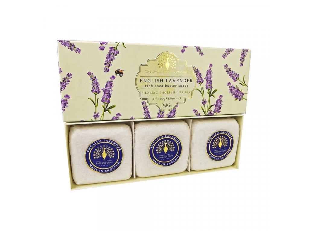 English Soap Anglická levandule přírodní parfémované mýdlo set 3 ks