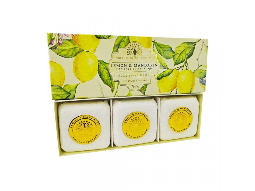 English Soap Citrón a Mandarinka přírodní parfémované mýdlo set 3 ks