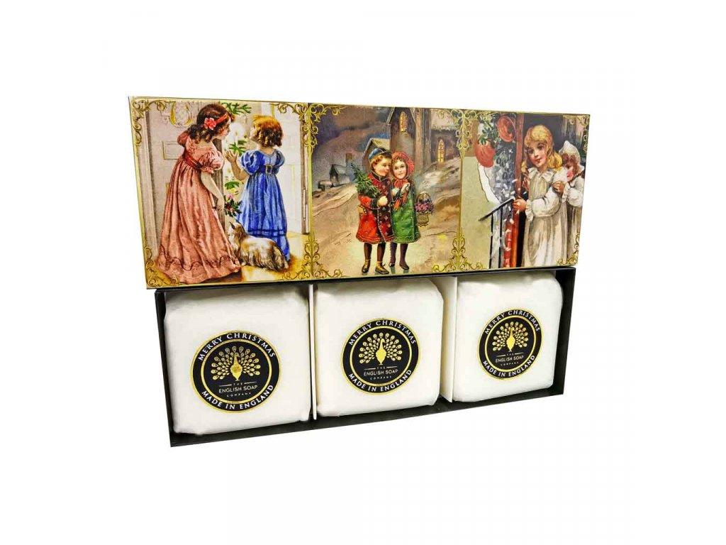 English Soap Viktoriánská vánoční přírodní parfémované mýdlo set 3 ks