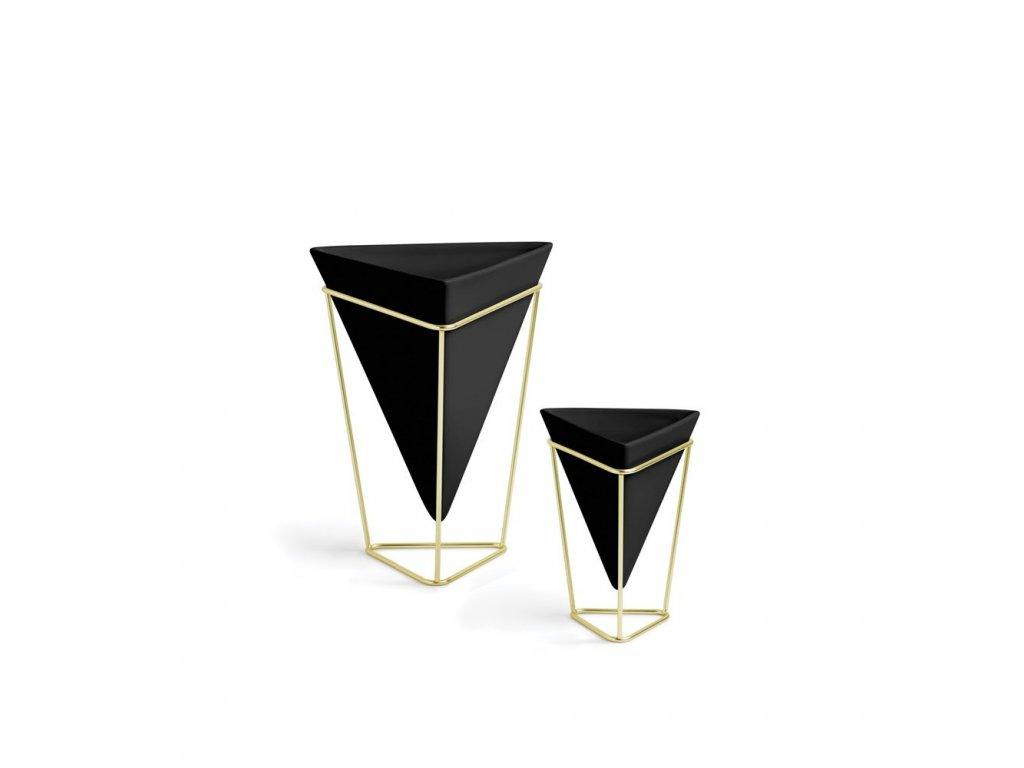 Květináč TRIGG set 2 ks, černá,zlatá Umbra