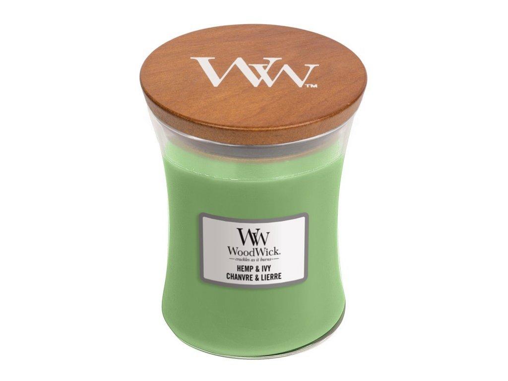 WoodWick vonná svíčka HEMP & IVY sklo střední, 275 g