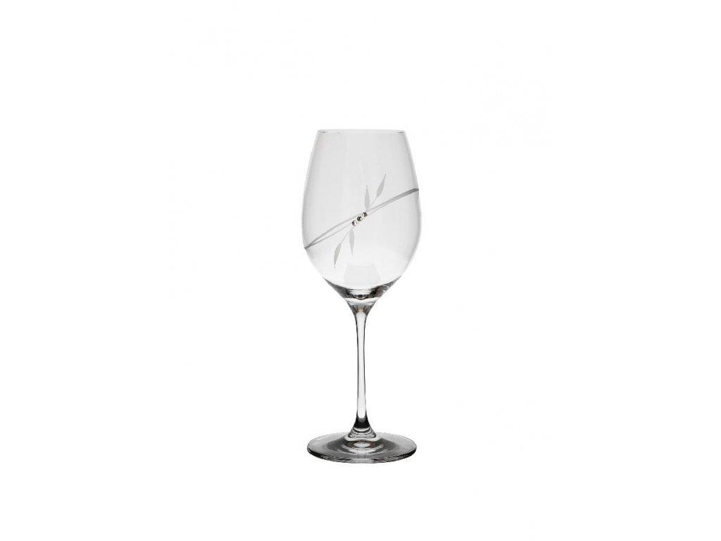 Sklenice na víno 470 ml s krystaly Swarovski, list set 2 ks