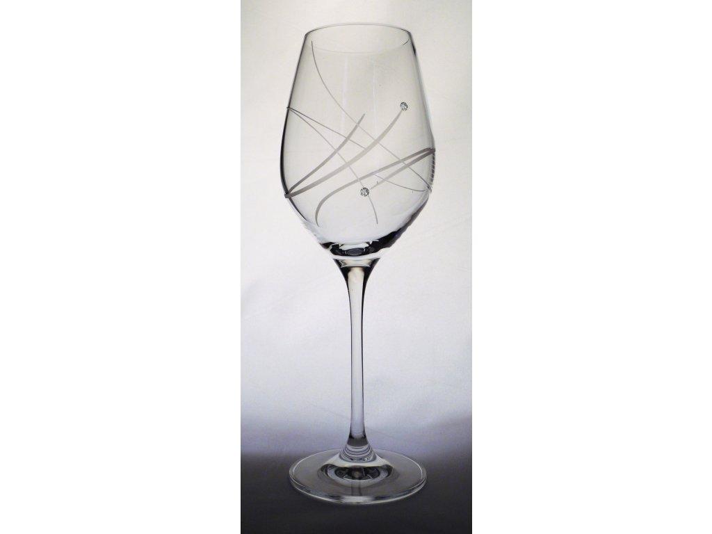 Sklenice na víno 360 ml s krystaly Swarovski 2ks, set 2 ks