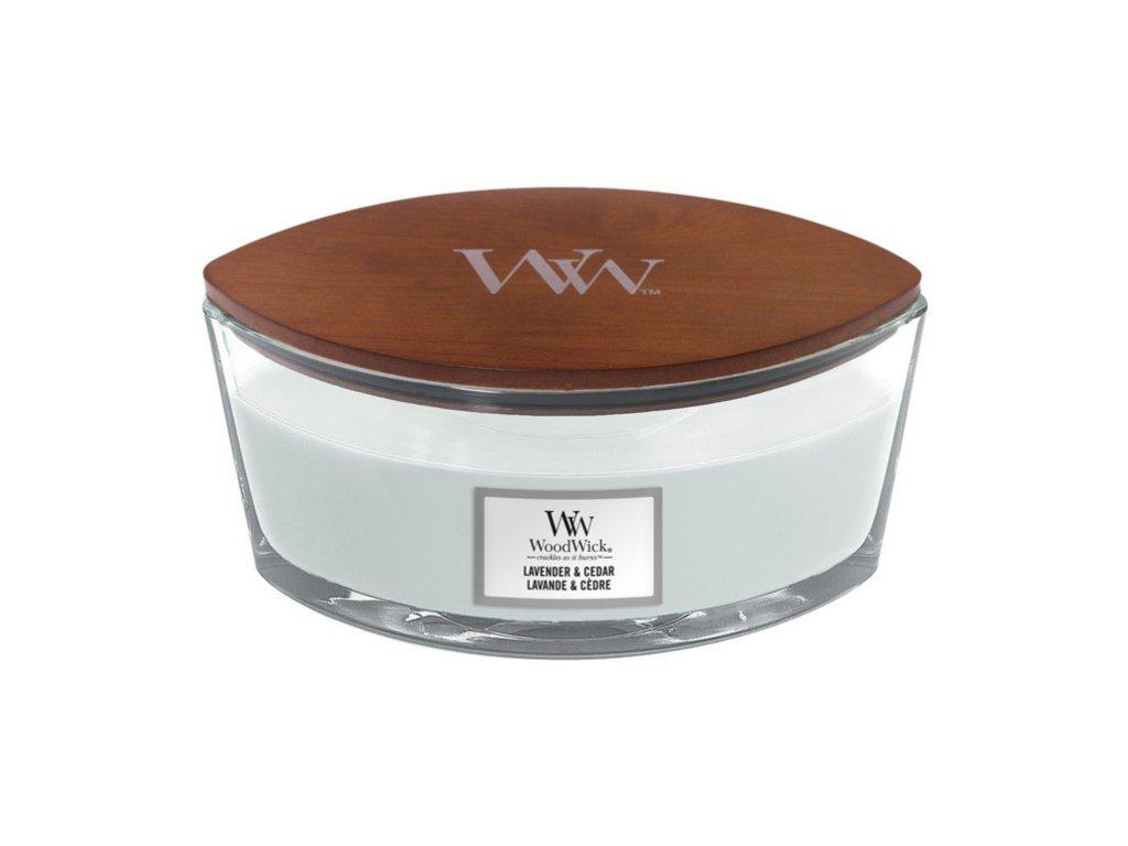 WoodWick vonná svíčka loď, Lavender & Cedar