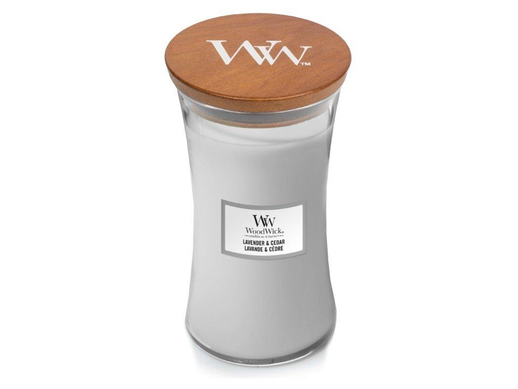 WoodWick vonná svíčka, sklo velké Lavender & Cedar, 609 g