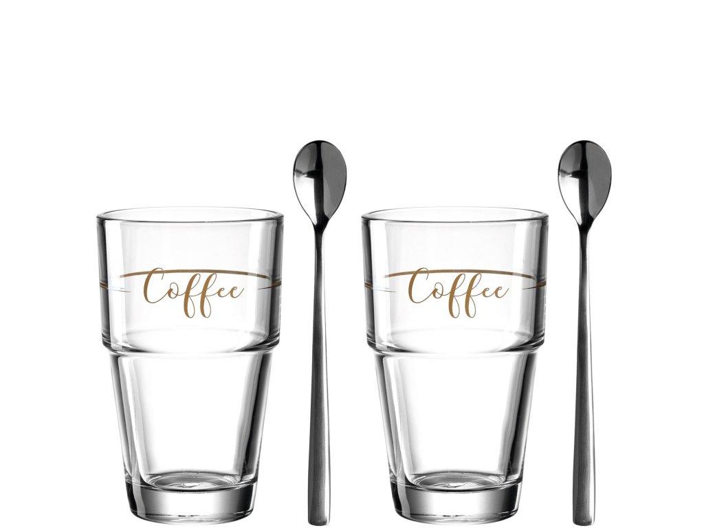 Sklenice na kávu se lžičkou SOLO set 2 ks, Leonardo