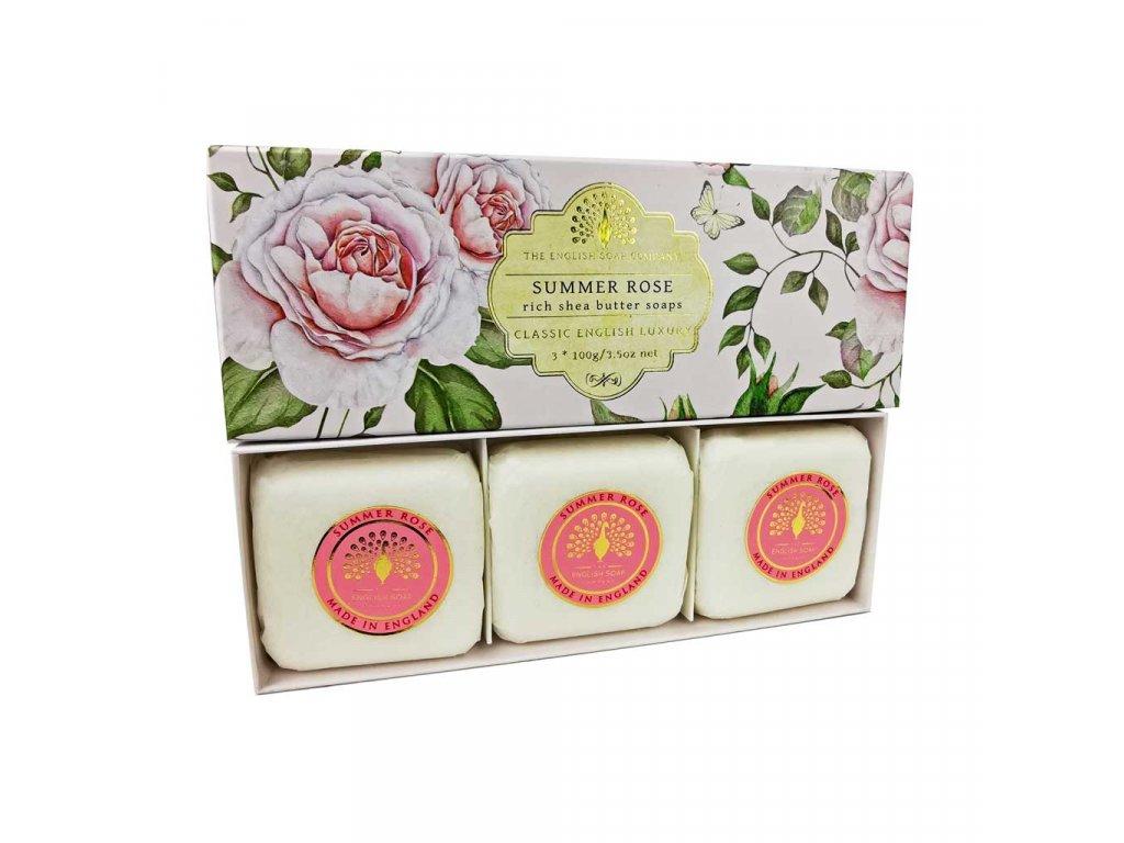 English Soap Summer Rose přírodní parfémované mýdlo set 3 ks