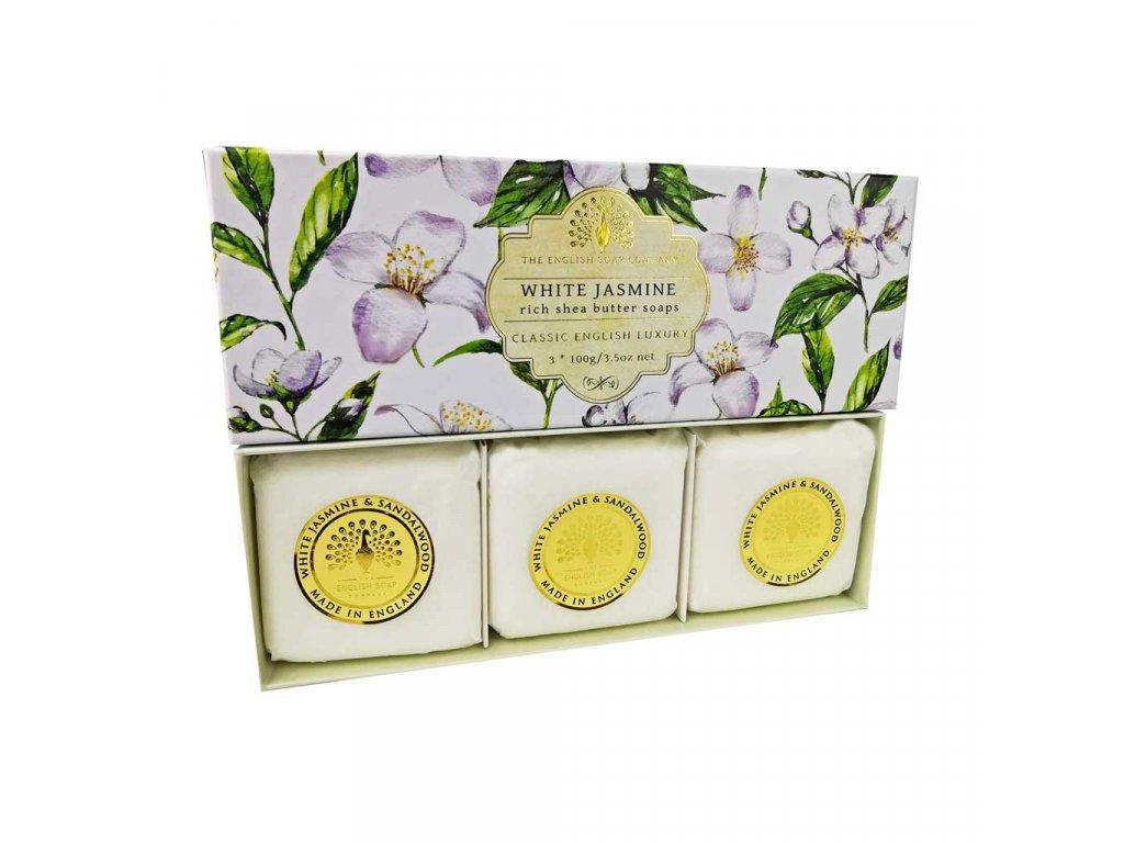English Soap Bílý Jasmín přírodní parfémované mýdlo set 3 ks