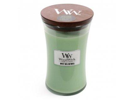WoodWick vonná svíčka sklo velké WHITE WILLOW MOSS