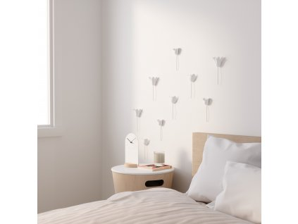 Dekorace na zeď BLOOMER set 9 ks, bílá Umbra