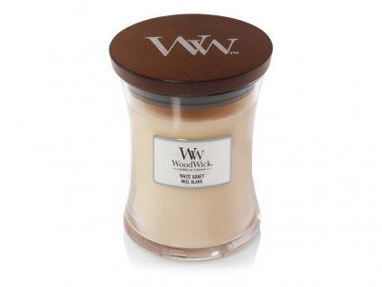 WoodWick vonná svíčka sklo střední WHITE HONEY 275 g