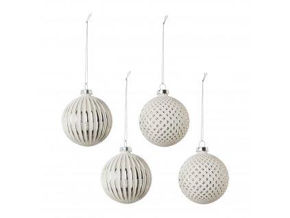 Vánoční ozdoba,koule MURO 8 cm set 4 ks, bílá,stříbrná Gasper