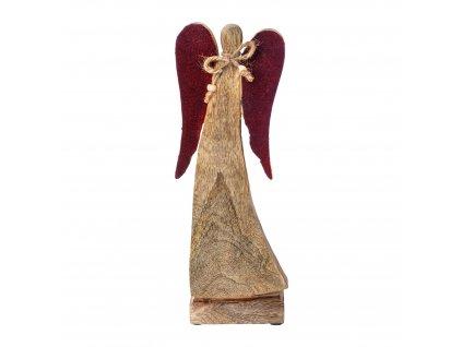 Dřevěný anděl v. 31 cm, přírodní,bordó Gasper