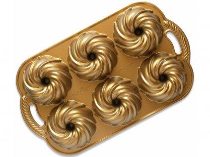 Forma na 6 minibábovek VODNÍ VÍR 3 cup, zlatá Nordic Ware