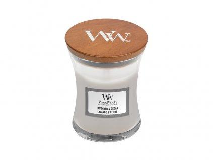 WoodWick vonná svíčka LAVENDER & CEDAR, sklo malé 85 g