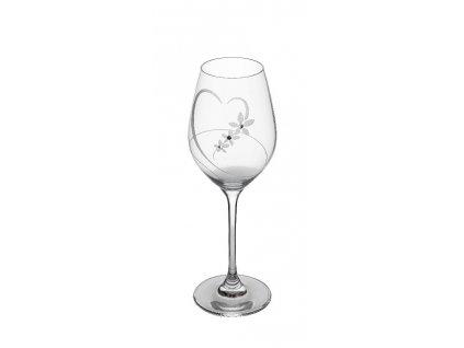 Sklenice na víno 360 ml s krystaly Swarovski, srdce set 2 ks