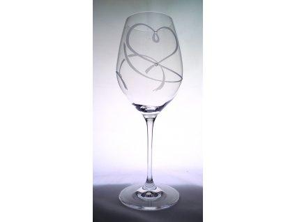 Sklenice na víno 470 ml s krystaly Swarovski, srdce set 2 ks