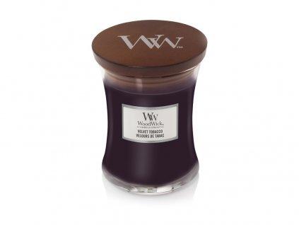WoodWick vonná svíčka, sklo střední Velvet Tobacco, 275 g