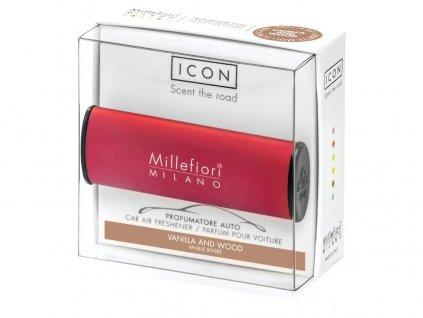 Vůně do auta Icon Vanilla & Wood, červená Millefiori