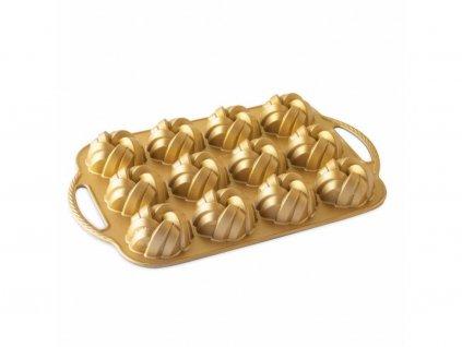 Nordic Ware forma BRAIDED na minibábovky 12 ks, zlatá