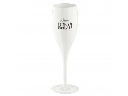 Koziol sklenička CHEERS 100 ml, bílá s potiskem Welcome Baby