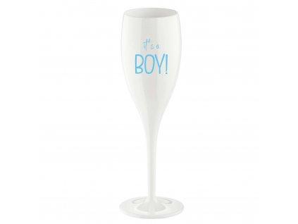 Koziol sklenička CHEERS 100 ml, bílá s potiskem IT S A BOY