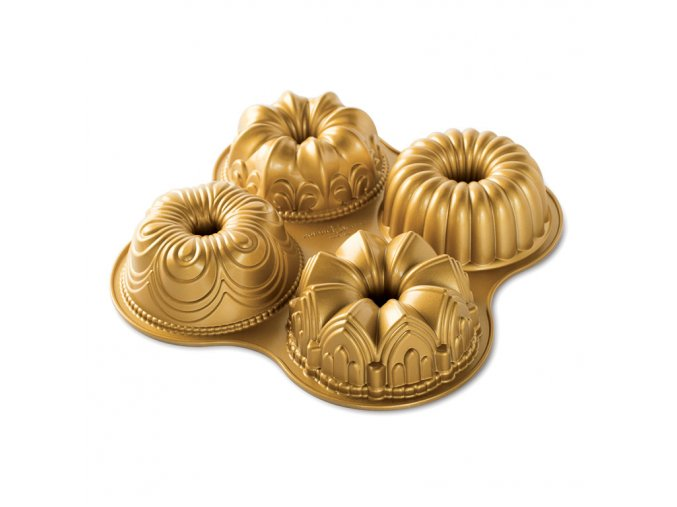 Forma na mini bábovky mix 4 ks zlatá Nordic Ware