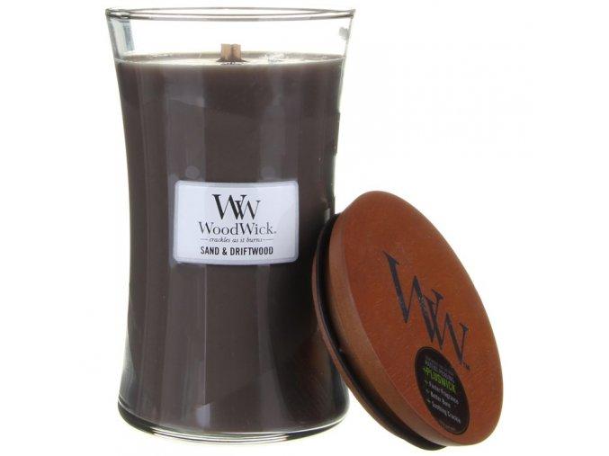 WoodWick vonná svíčka sklo velké SAND & DRIFTWOOD
