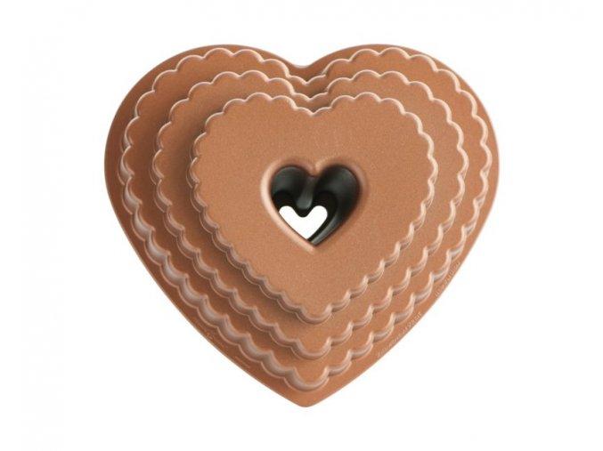 Forma na bábovku patrové srdce 12 cup měděná Nordic Ware 2