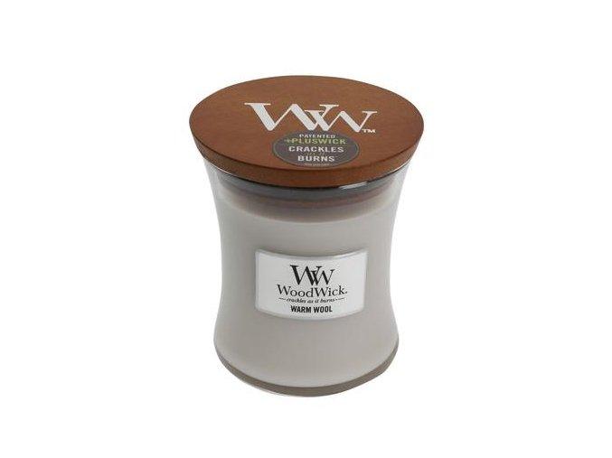 WoodWick vonná svíčka sklo malé WARM WOOL