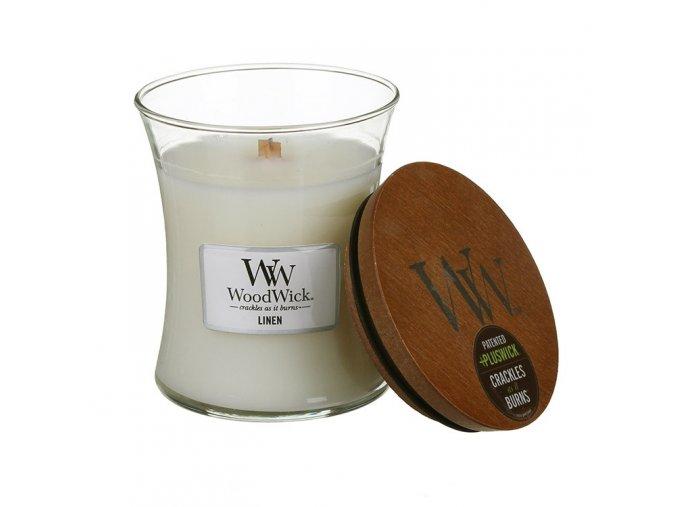 WoodWick vonná svíčka sklo střední LINEN