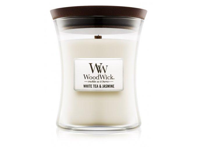 WoodWick vonná svíčka sklo střední WHITE TEA & JASMINE
