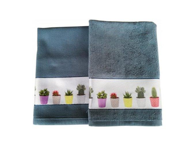 Set kuchyňský ručník,utěrka CACTUS modrá Framsohn