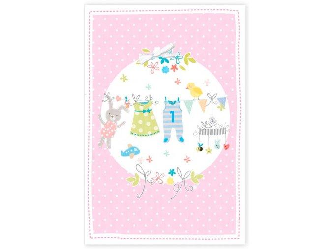 Přání s obálkou k narození dítěte růžové Artebene