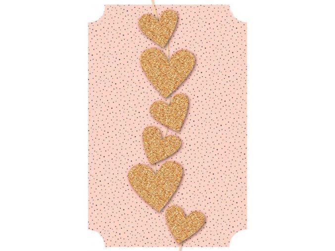 Přání s obálkou srdce zlatá se třpytem Artebene